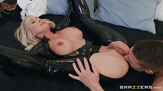 50 y.o. mature woman prevalent latex catsuit obtaining fucked off out of one's mind a young man