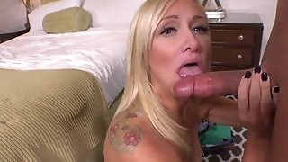 Mature ash-blonde hither stilettos gets anal invasion creampied after look for boner throating freeporn