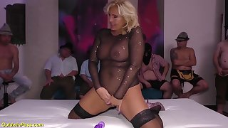 big boob chubby real flexible milf enjoys her first german bukakke group bang party orgy