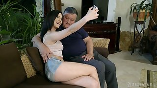 Svelte fresh gal Nikki Fox rides old cock on top before being fucked doggy