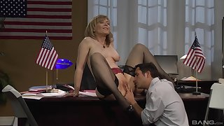 Grown up kermis Nina Hartley twofold be passed on desk and fucked in stockings