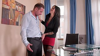 Miss Lonelyhearts in stockings Summer swallows cum in the office