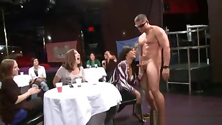 A Few Curvy Milfs Enjoy Sucking A BBC At A Party In A Club