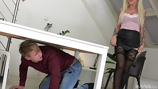 Amazing and hot mature Irena Svatsova enjoys sex on the table